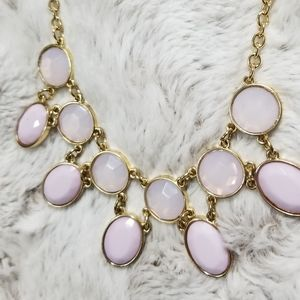 JS Collections Jewelry - JS Pink Oval Rhinestone Gold Color Chain Necklace